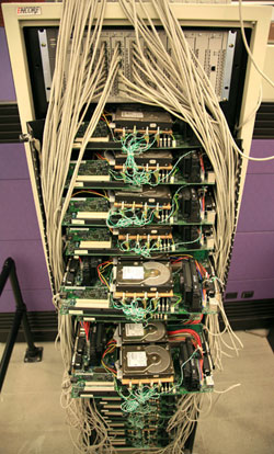 Google's first production server rack, circa 1998