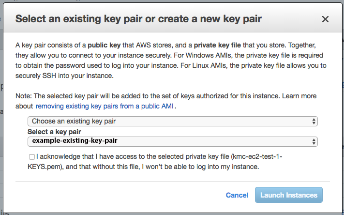 Select an existing key pair or create a new key pair modal