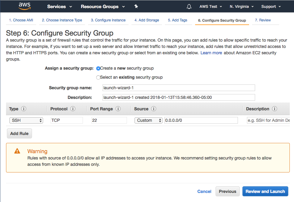 Step 6: Configure Security Group